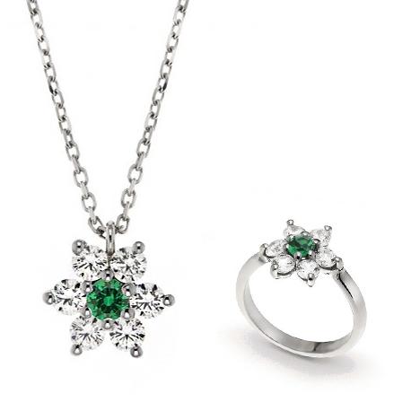Parure Gioielli Orsini stella in argento zircone verde e zirconi bianchi