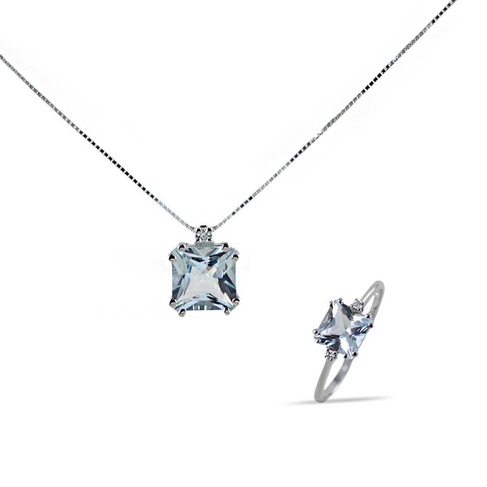 Parure Gioielli Princess con Acquamarina e diamanti