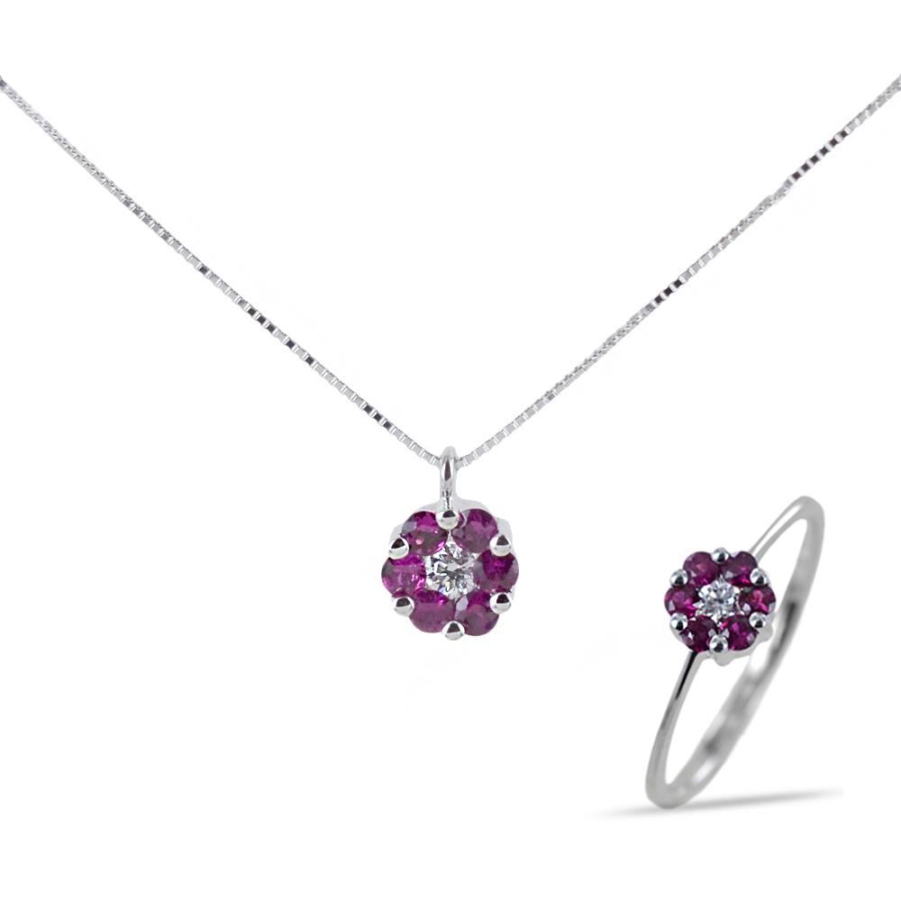 Parure Gioielli Rosetta con Rubini e Diamanti
