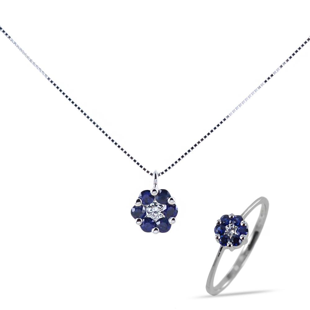 Parure Gioielli Rosetta con Zaffiri e Diamanti