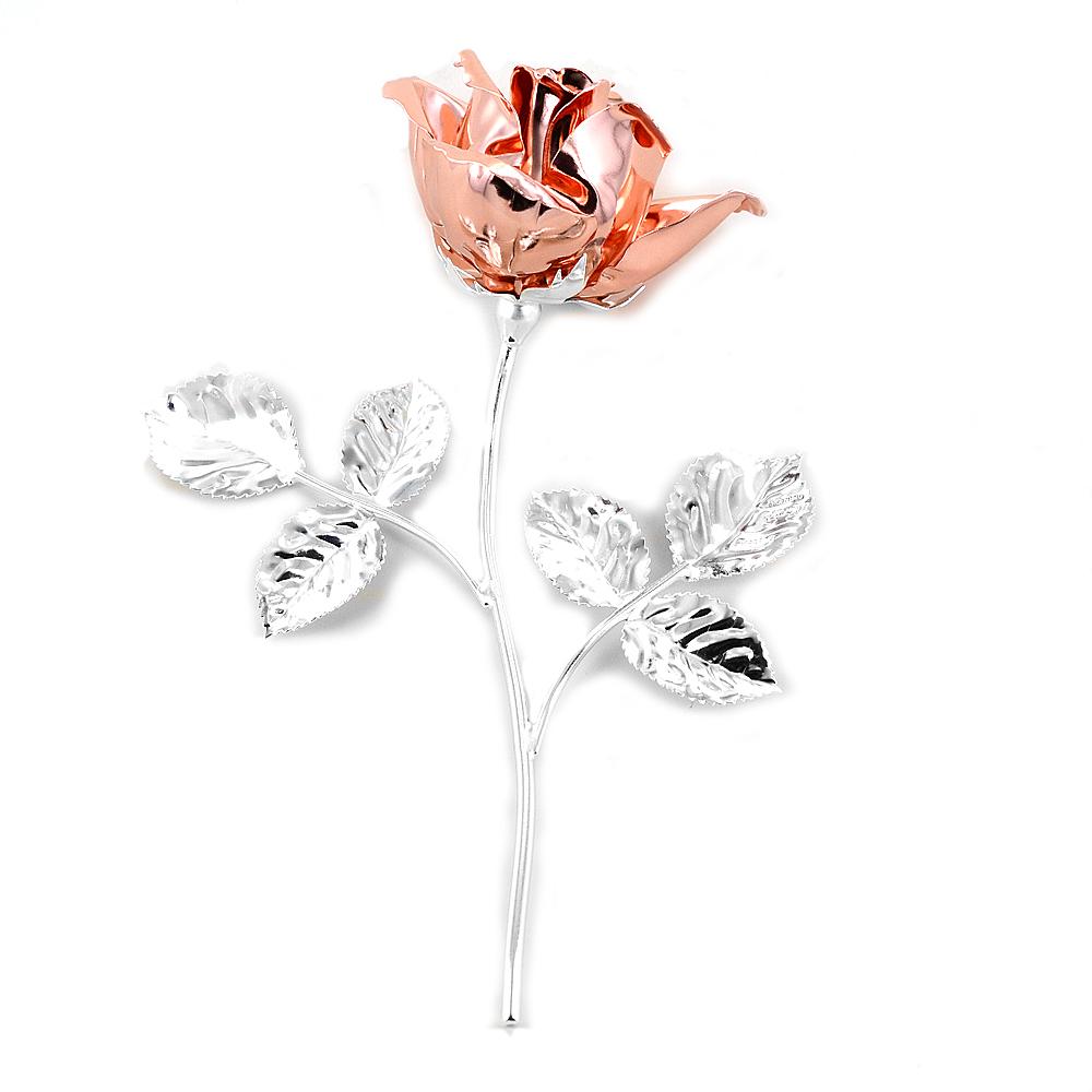 Rosa profumata argentata 14 cm con smalto oro rosa