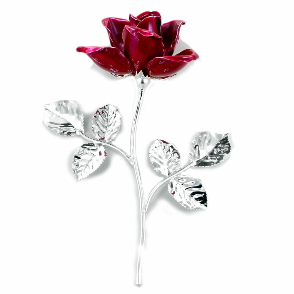 Rosa profumata argentata 14 cm con smalto rosso