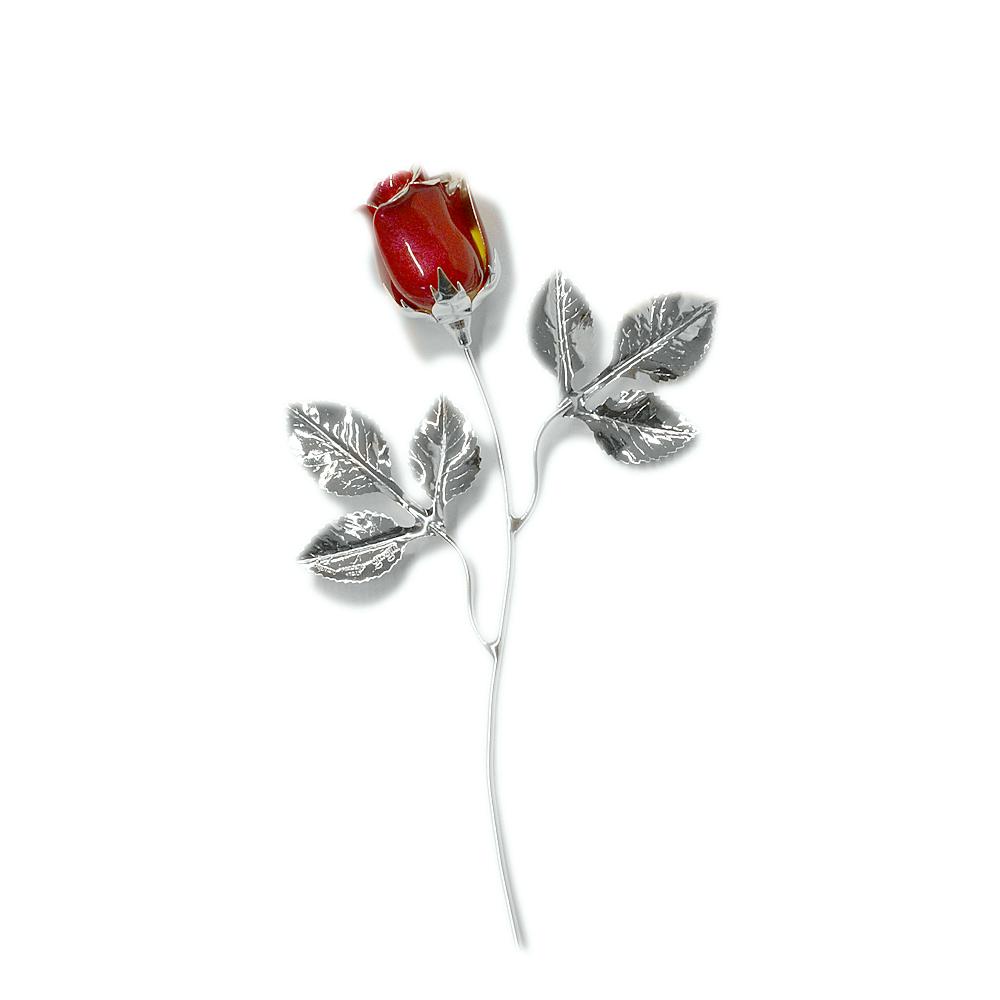 Rosa profumata argentata 16 cm con smalto rosso