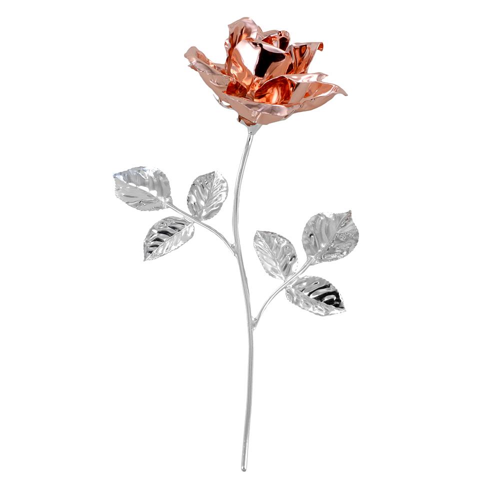 Rosa profumata argentata 17 cm con smalto oro rosa