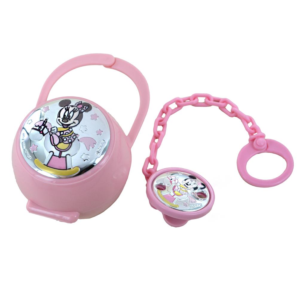 Scatolina porta ciuccio e catenella Minnie da bambina in argento