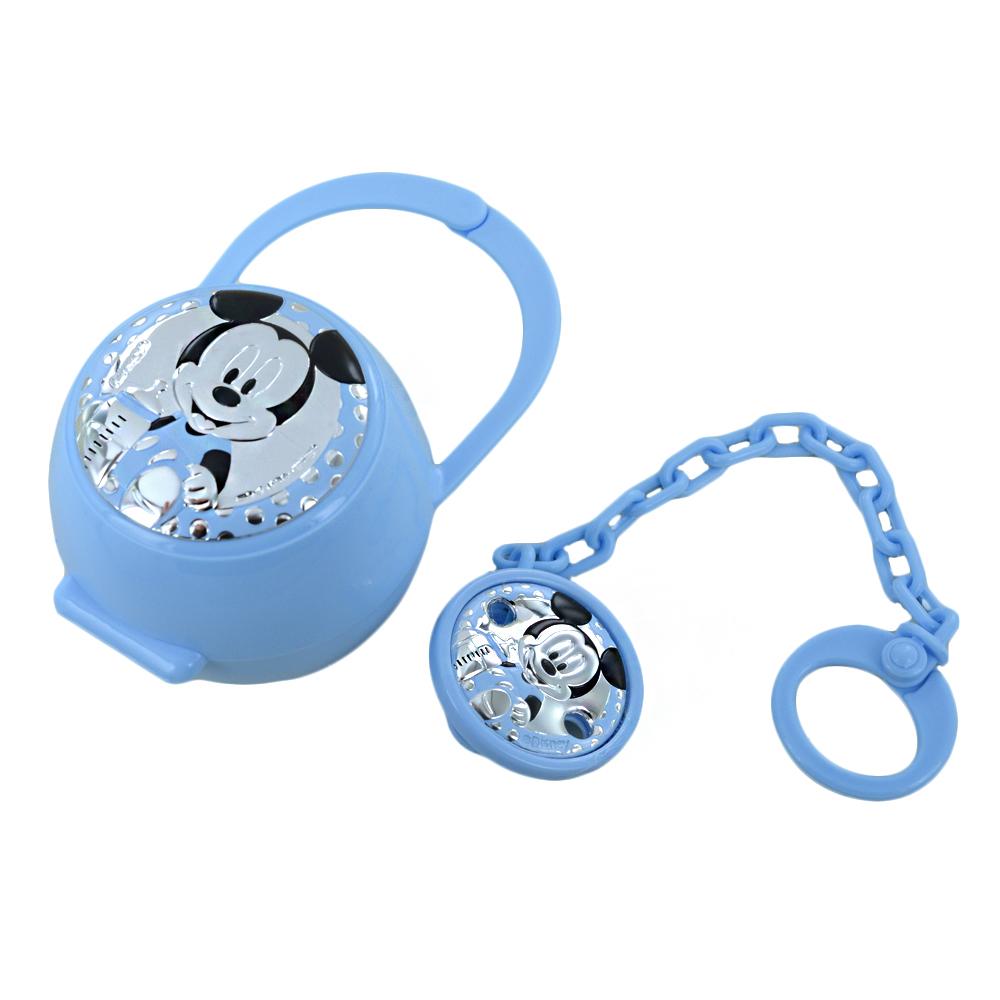 Scatolina porta ciuccio e catenella Topolino da bambino in argento