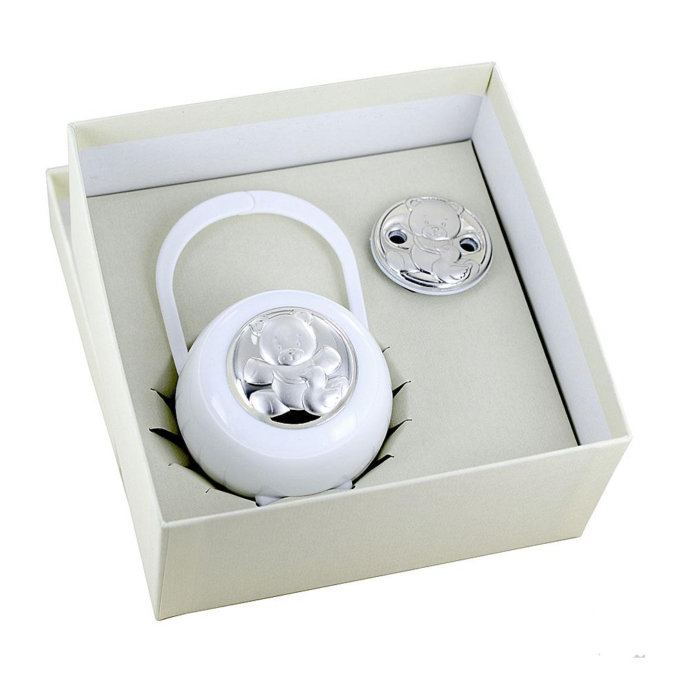 Scatolina portaciuccio Unisex orsetto bianco