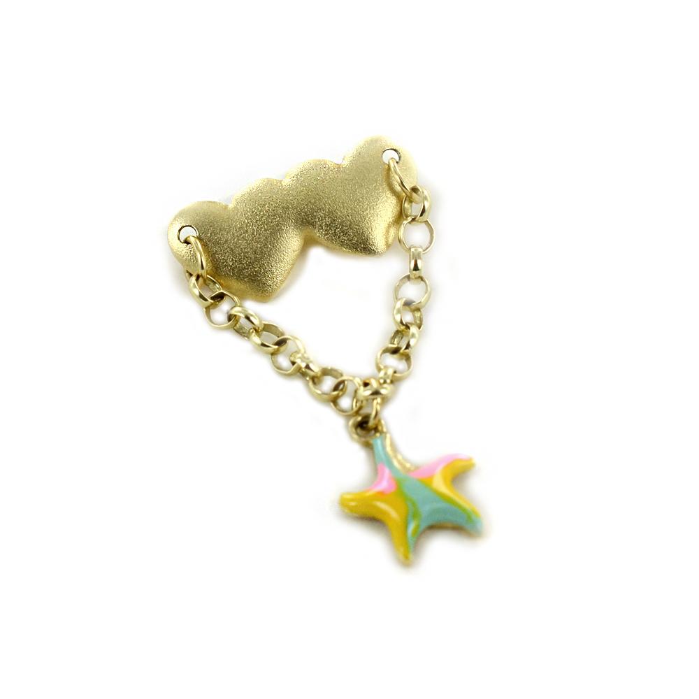 Spilla da bambina in oro con ciondolo stella marina