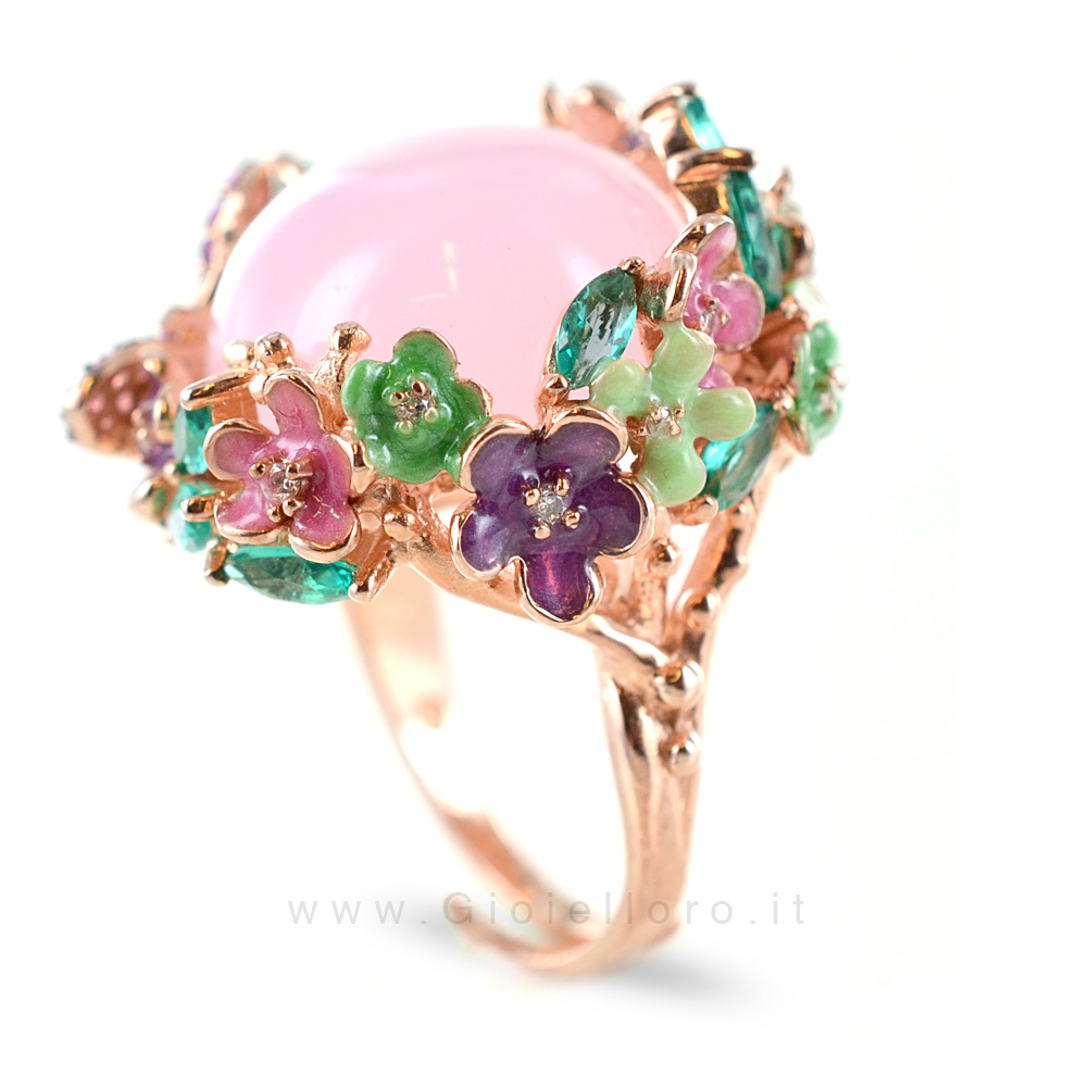 Estremamente Anello GIOIELLI SAMUI in argento e pietre preziose BOULE rosa  UO24