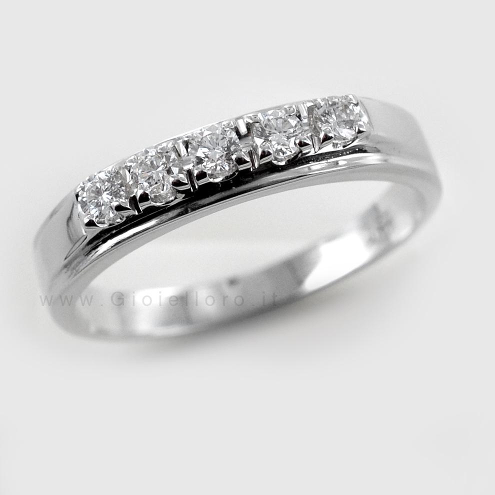 gamma molto ambita di risparmi fantastici modellazione duratura Anello Riviera 5 diamanti in oro e diamanti ct 0.22 G ...