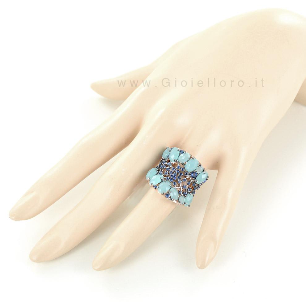 Super Anello Turquoise GIOIELLI SAMUI in argento e pietre preziose  VX07