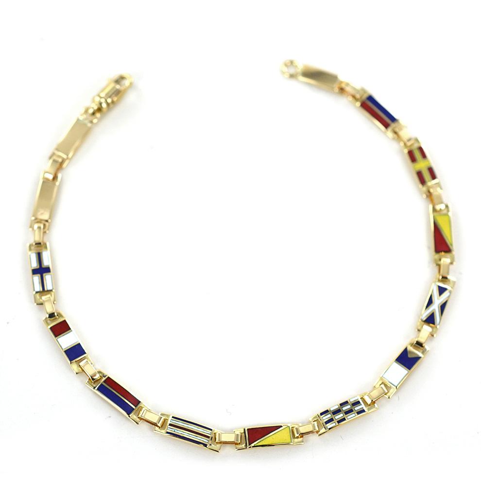 moderno ed elegante nella moda immagini dettagliate up-to-date styling Bracciale con Bandiere Nautiche in oro giallo e smalto ...