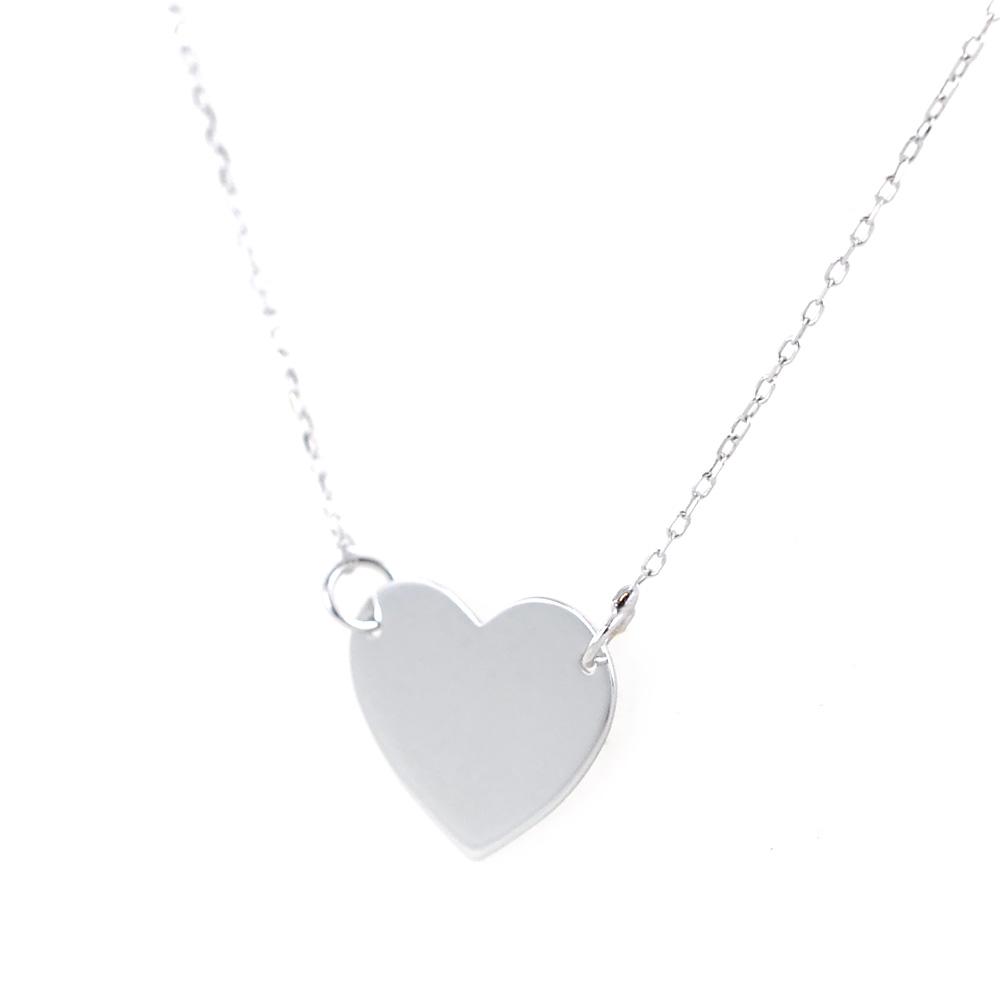 fc2fc813ec Collana con ciondolo cuore a lastra in oro bianco | Gioielloro.it ...
