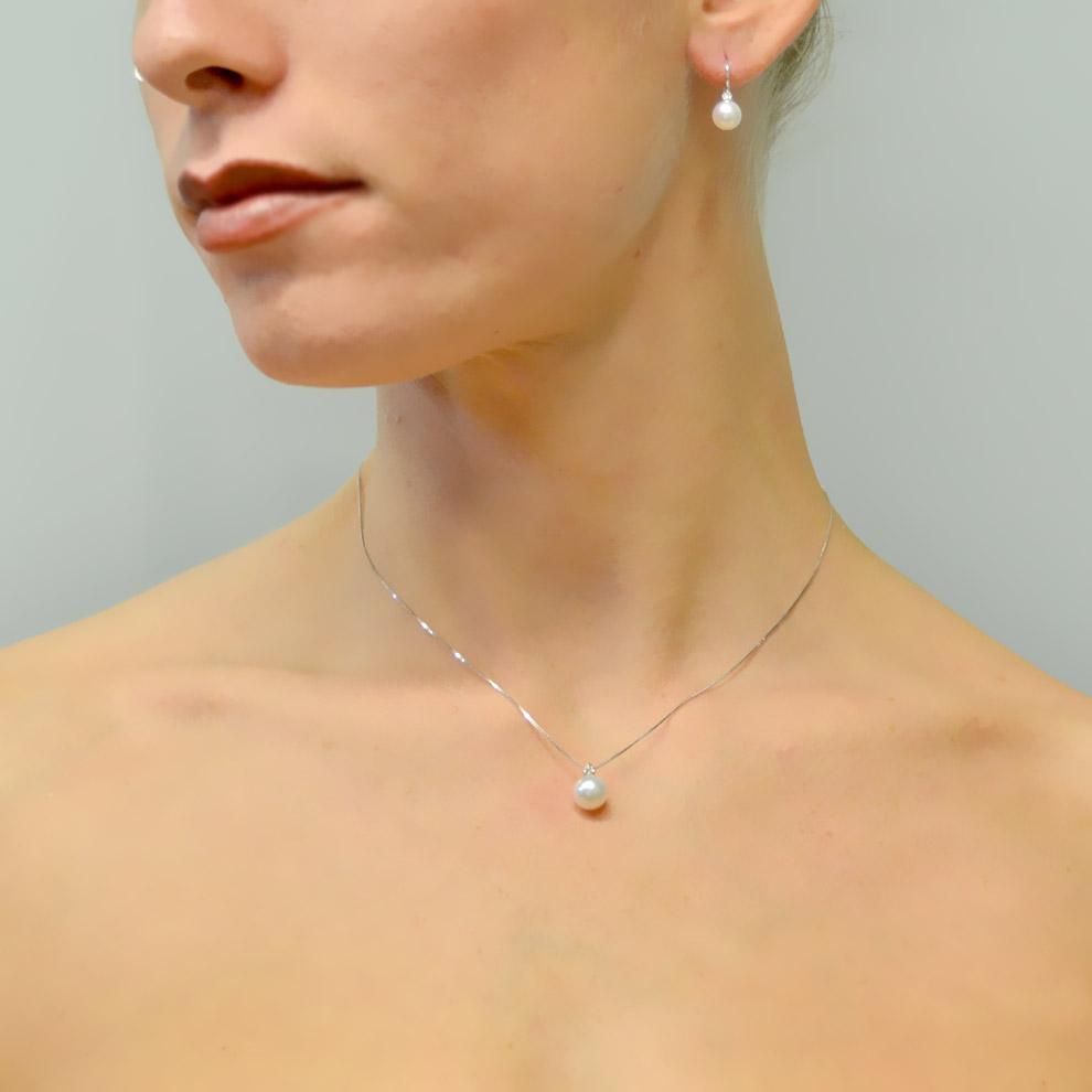 closer at the best shop best sellers Orecchini con perle Akoya e diamante - perle di diametro ...