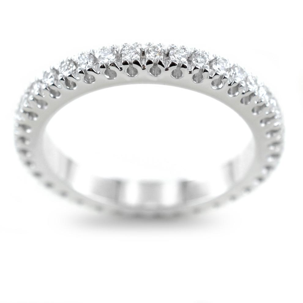 vendita calda rivenditore sporco presa all'ingrosso Anello Fede Eternity in oro bianco e diamanti ct 0.50 G VS ...