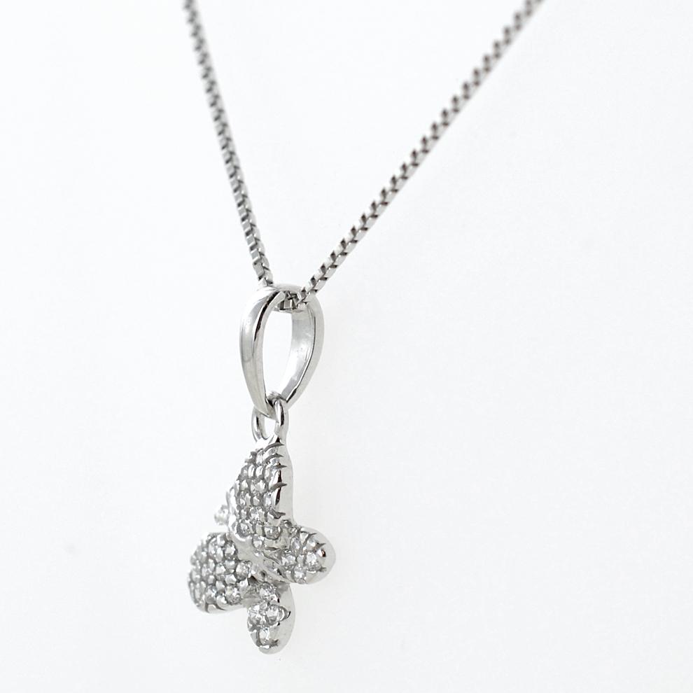 b4dfe3235d Ciondolo Farfalla in oro bianco e zirconi con collana in argento - gallery 1