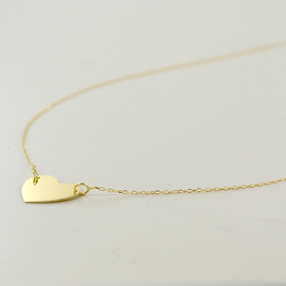 3102e9662e Collana con ciondolo cuore a lastra in oro giallo | Gioielloro.it ...