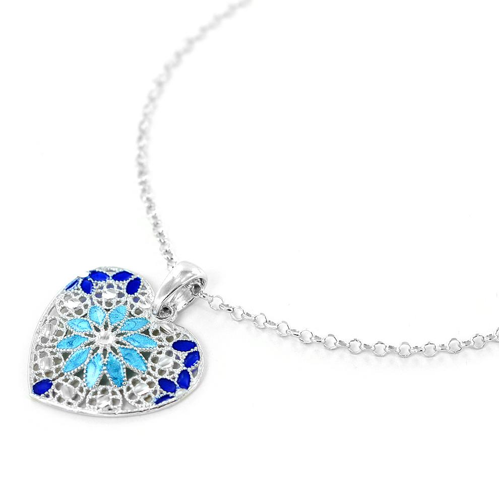 16db7ce6981070 Collana in argento con pendente cuore e smalti azzurri collezione Notre Dame  - gallery 3