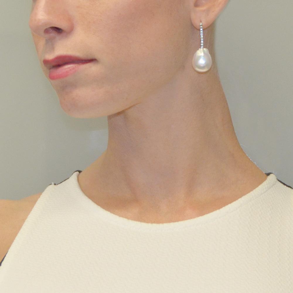Prezzo del 50% taglia 40 valore eccezionale Orecchini con perle barocche e Diamanti 0.20 carati by ...