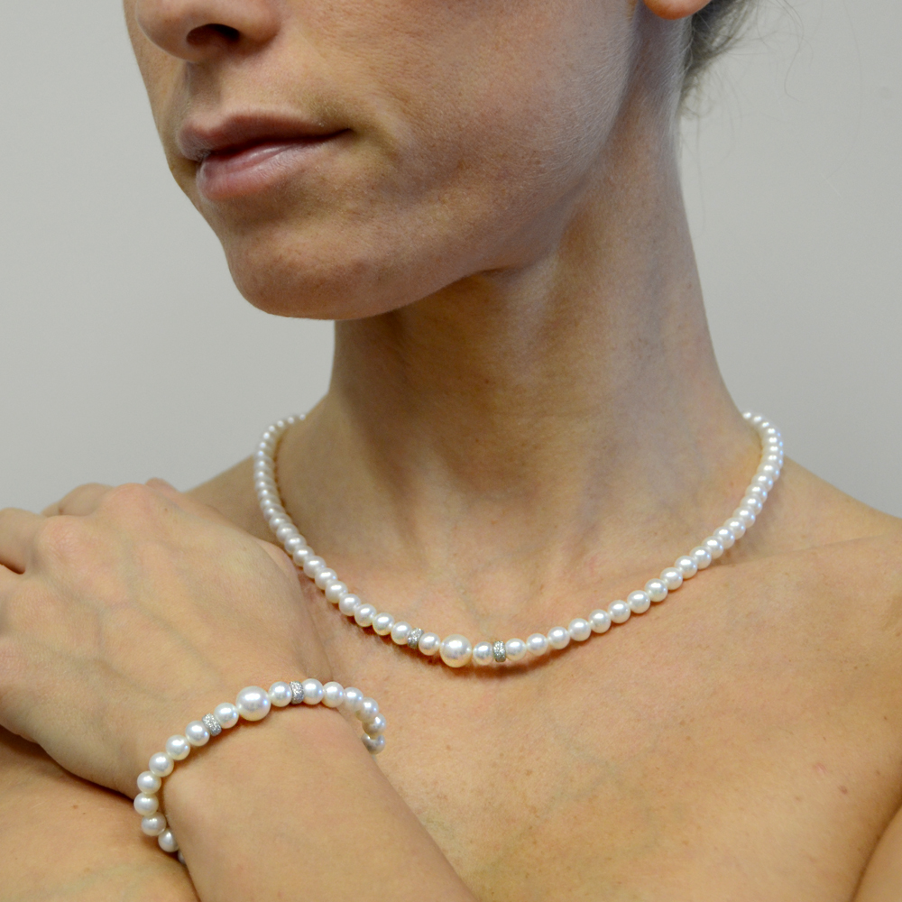 parure collana e braccialetto spediti in una lussuosa scatola-regalo 7 mm colore: rosa corallo