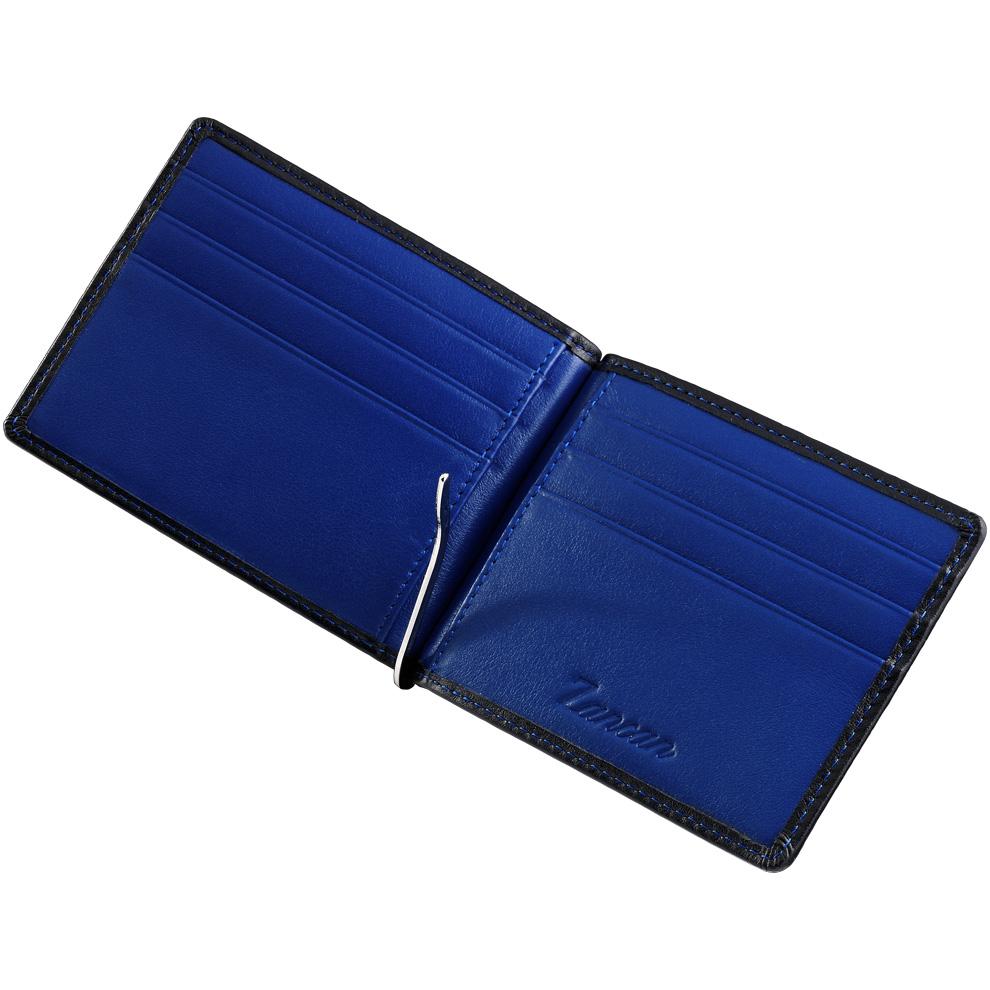 60d5322946 Portafoglio con clip fermabanconote da uomo Zancan in vera pelle HPL 028  interno blu - gallery