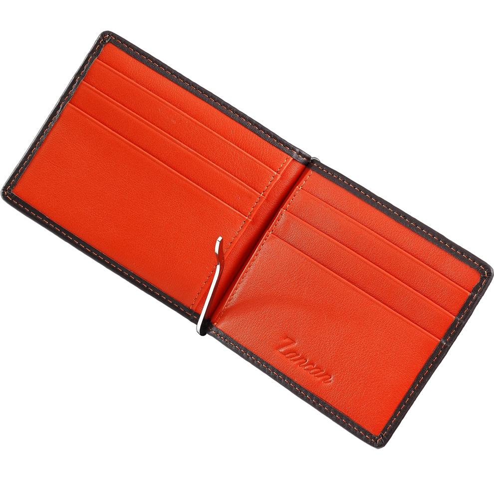 7f87fa66a3 Portafoglio con clip fermabanconote da uomo Zancan in vera pelle HPL 030  arancio - gallery 1